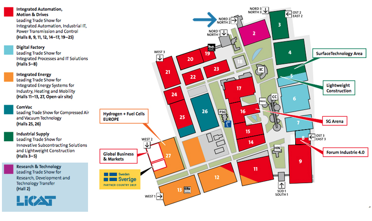 Hannover Messe 2019 map of the show